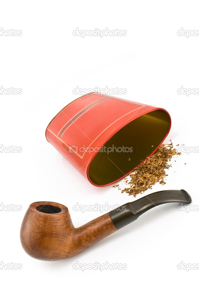 Tobacco pipe with red tin box isolated on white — Stock Photo #8996211
