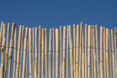 Cane fence texture over blue sky — Stock Photo