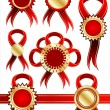 Collection of red bows — Stock Vector
