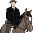 Stock Vector: Police on horse