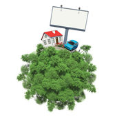 Car, house and advertising board on a small planet with trees — Stock Photo