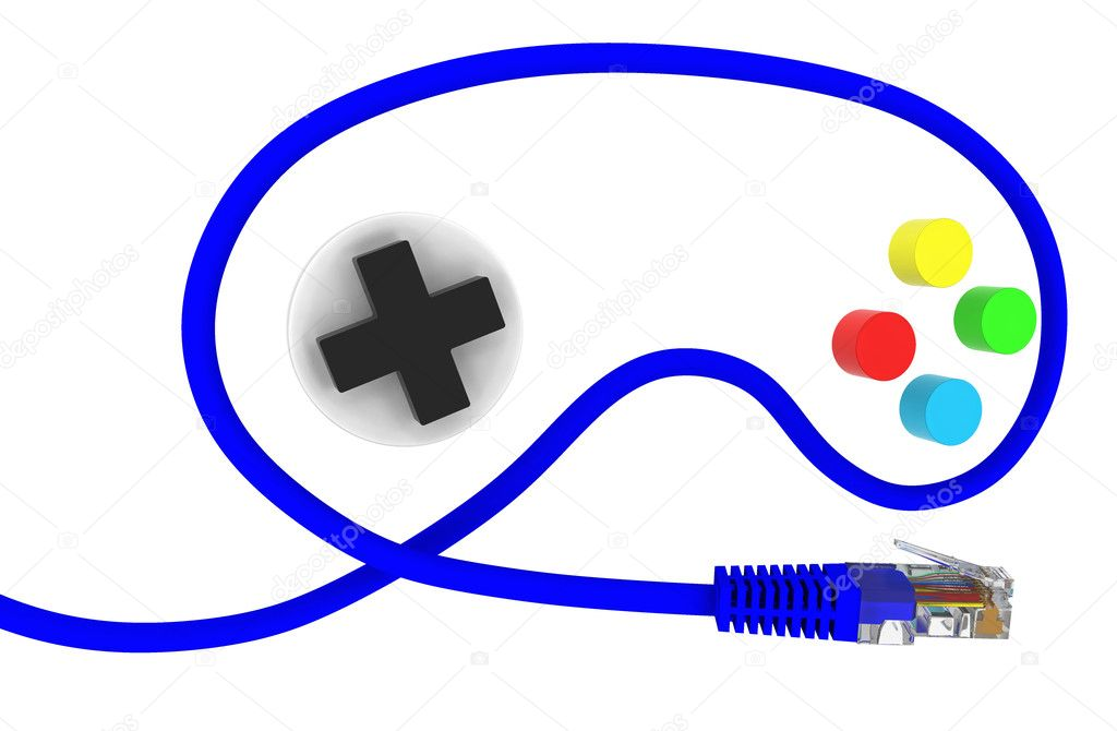 Network cable in the form of a joystick  Stock Photo #10463698