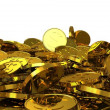 Stock Photo: Falling gold dollar coins. 3D rendering