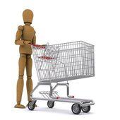 Dřevěný člověk valí na vozík. 3d vykreslování — Stock fotografie