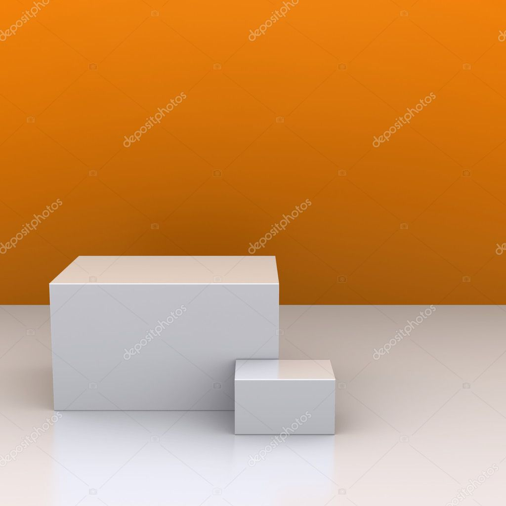 The white boxes in the background of an orange wall. The studio. 3D visualization — Stock Photo #8982637