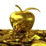 Golden Apple on the golden dollar coins. 3D rendering — Stock Photo