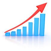 透明な青い列と赤の矢印の成長のスケジュール — ストック写真