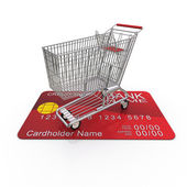 The cart is on the buyer's credit card. 3D rendering — Stock Photo