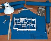 Blueprints on the desktop architect. View from the top — Stock Photo