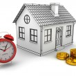 Stock Photo: Model home, red alarm clock, stack of gold dollar coins