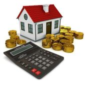 House with red roof, calculator, stack of gold coins dollar — Foto Stock