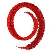 Splash of red paint twisted into a spiral — 图库照片