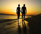 Romantic Beach Walk — Stock Photo