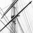 Sailboat mast in black and white — Stock Photo