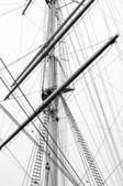 Sailboat mast in black and white — Stock Photo