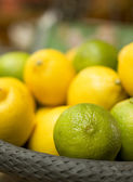 Green and yellow citrus fruits — Stock Photo