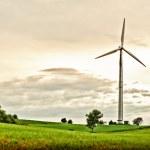 Wind Turbine in spring meadow — Stock Photo
