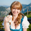 Joyful Girl with Cup of Milk — Stockfoto