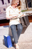 Looking into the Shopping Bag — Stock Photo