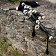 Stock Photo: Bagpipes on Stone Wall
