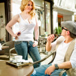 Blonde Woman meets a Man on a Cafe — Stock Photo