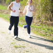 Stock Photo: Couple jogging in nature
