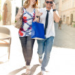 Happy Couple on Shopping Tour — Stock Photo