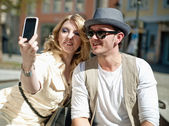 Couple makes self portrait — Stock Photo