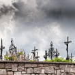 Dark Clouds over Graveyard — Stock Photo