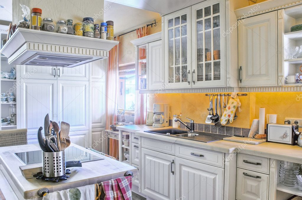 White kitchen in country style, with some tools — Stock Photo #9860481