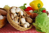Farmer market stand with rich variety of vegetables — Stock Photo