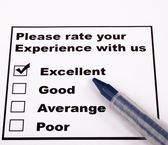 Experience Rating check list with blue pen — Stock Photo