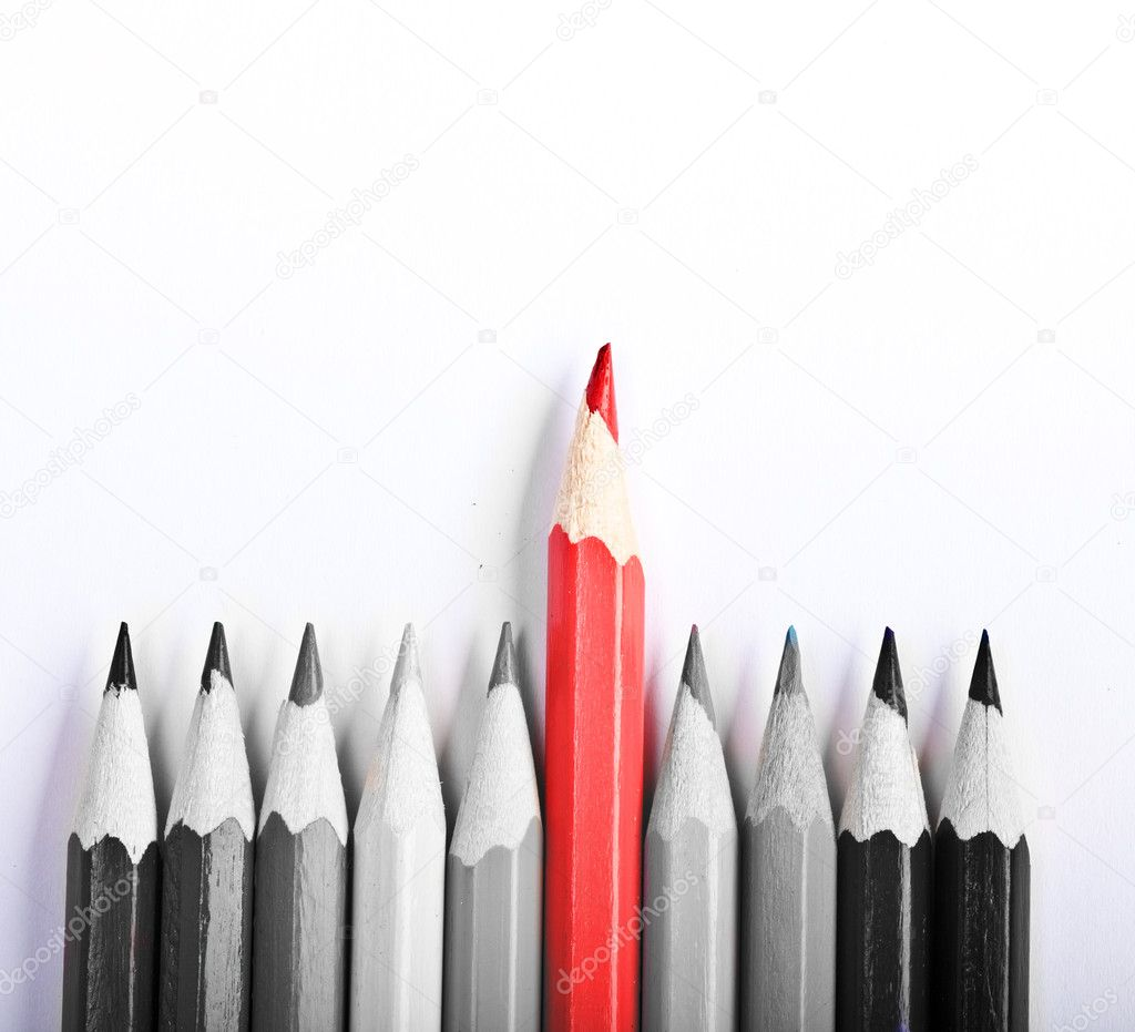 Red Pen standing out, over white background  Stock Photo #10549512