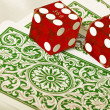 Dice and cards — Stock Photo