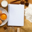 Notebook for recipes with baking ingredients — Stock Photo