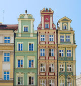 Facade of old houses — Stock Photo