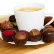 Cup of coffee with sweets — Stock Photo