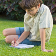 Stock Photo: School boy writting in note book