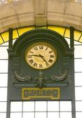 Old clock on Porto train station — Stock Photo