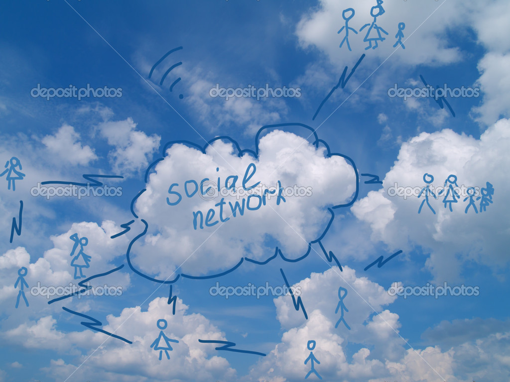 Social networking scheme drawed over cloudy sky — Stock Photo #9122112