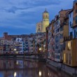 Old town of Girona at night, Spain — Stock Photo