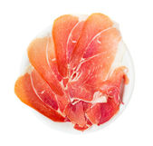 Plate of of spanish serrano ham — Stock Photo