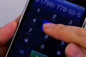 Dialing on touch screen smartphone — Stock Photo