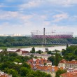 Panorama of Warsaw in Poland with National Stadium — Stock Photo