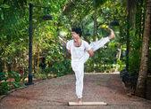 Yoga one leg balancing pose — Stock Photo