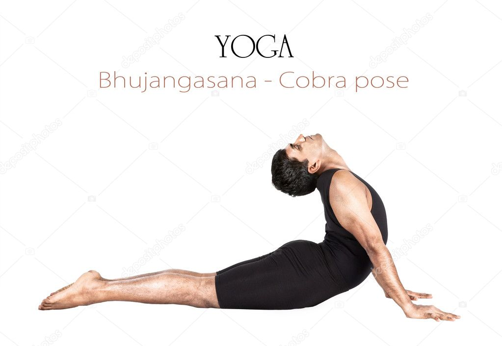 Yoga bhujangasana cobra pose by Indian man in black cloth isolated at white background. Free space for text and can be used as template for web-site — Stock Photo #10249040
