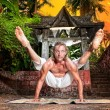 Yoga titibhasana firefly pose — Stock Photo