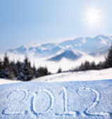 2012 year on the snow — Stock Photo