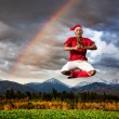 Christmas yoga — Stock Photo