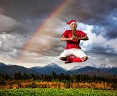 Christmas yoga — Stock Photo